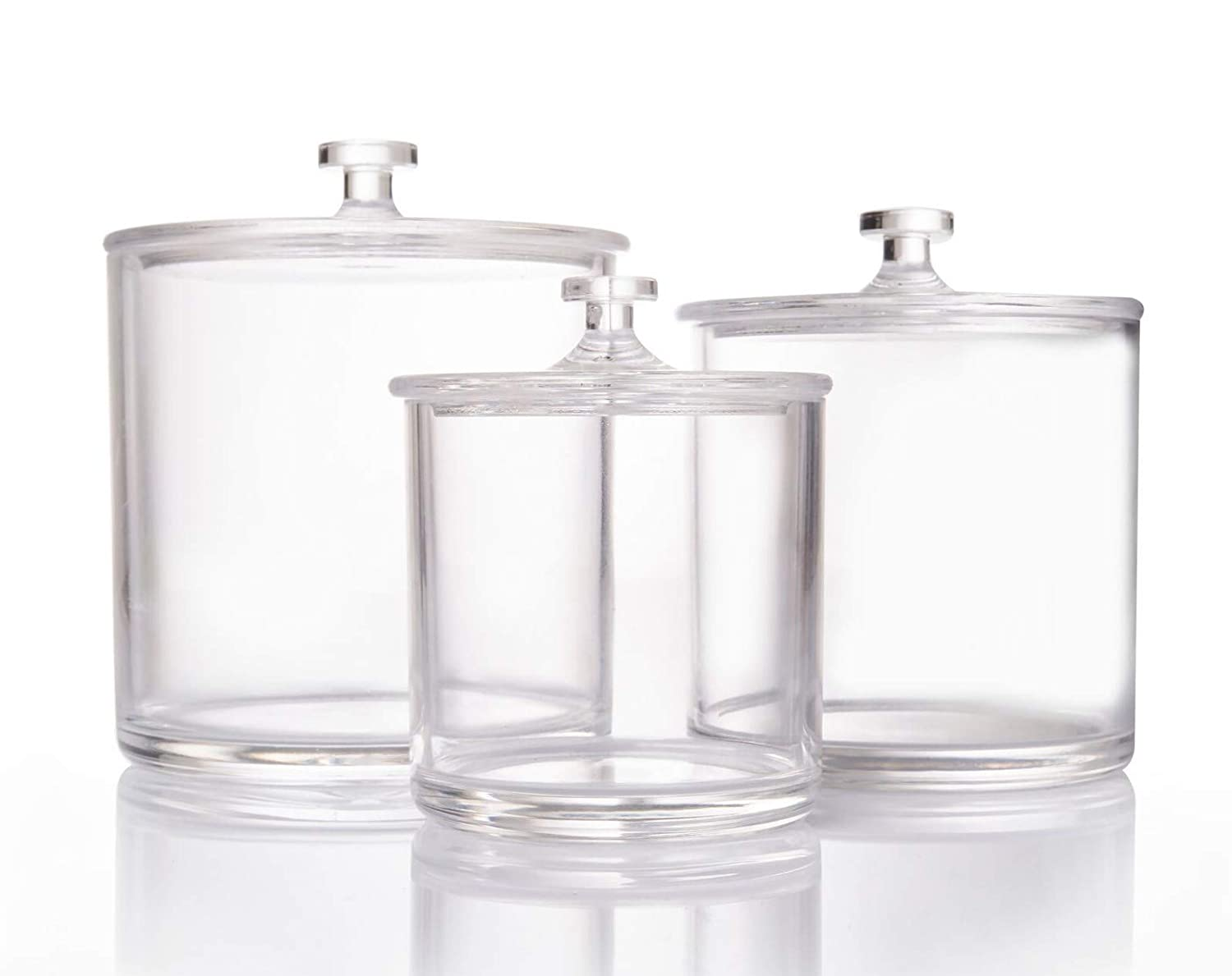 Beautiii Premium Crystal Clear Apothecary Jars | Set of 3
