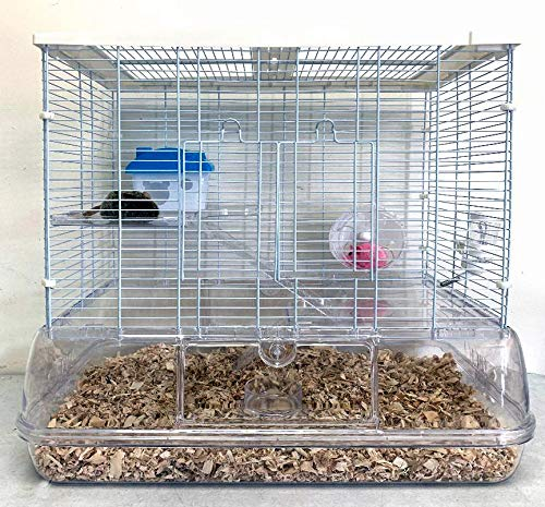 Large 3 Level Sparkle Clear Hamster Mice Mouse Rat Gerbil Guinea Pig Small Animal Critter Cage with 8-Inch Deep Transparent Base