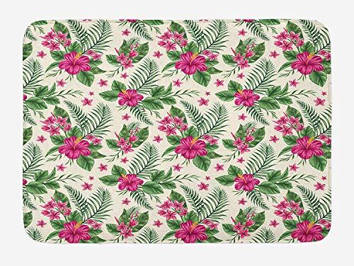 (Weeosazg Watercolor Bath Mat, Plumeria and Hibiscus Flora Tropical Island Nature Aloha Hawaii Jungle, Plush Bathroom Decor Mat with Non Slip Backing, 31.5 X 19.7 Inches, Magenta Cream Green)