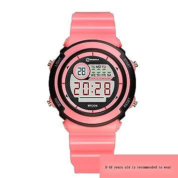 Reloj Electrónico Niño Niña Impermeable Multifunción Reloj Digital Luminoso Despertador Alumno Niños Reloj,Pink: Amazon.es: Deportes y aire libre