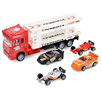 Transporter Hauler Truck Car Carrier Trailer Toy Vehicle Lorry 4 Racing Cars