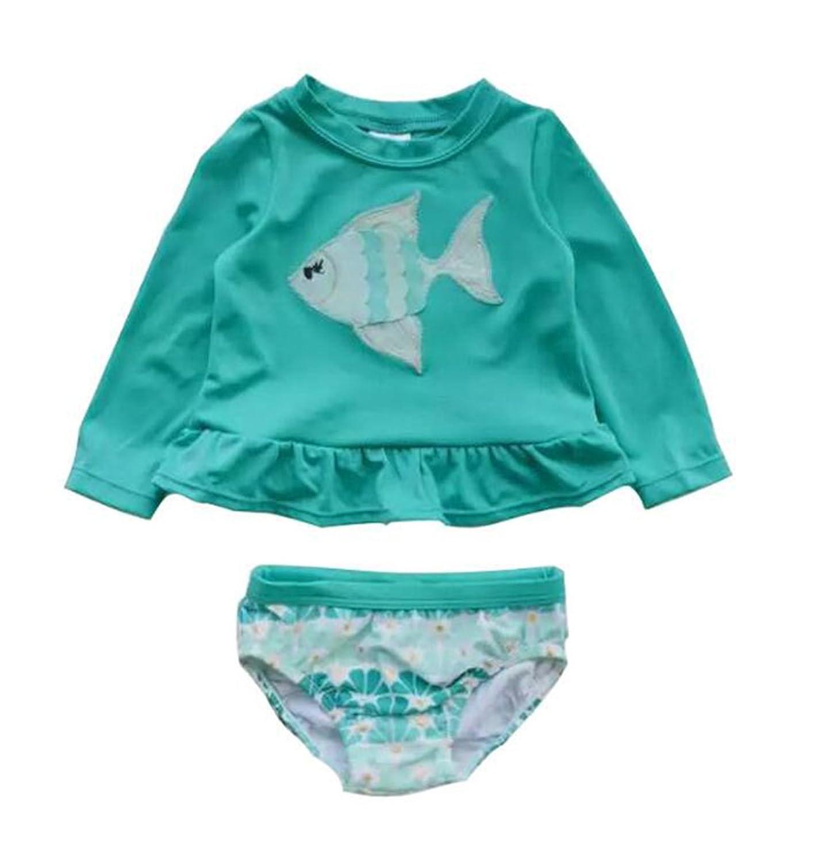 8b841ff6dff7f Baby Girls Long Sleeve Rash Guards Swimsuit Toddler Kid 2pcs Swimwear UV  Sun Protective Bathing Suit