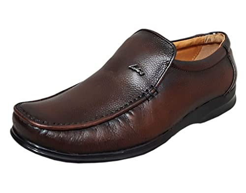 73d21436461 Zoom Shoes For Mens Genuine Leather Formal Shoes D-103-BRown Shoes Online  -7  Buy Online at Low Prices in India - Amazon.in