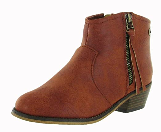 Breckelles Dorado-11 Women's Western Style Ankle Bootie On Chunky Heels With Pu Upper And Size Zipper