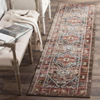Safavieh Bijar Collection BIJ621C Traditional Oriental Vintage Brown and Royal Blue Runner (23 x 12)