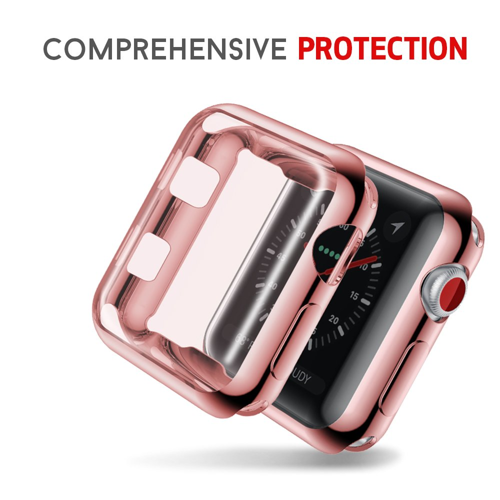 Smiling Apple Watch 3 Case with Buit in TPU Screen Protector All-Around Protective Case High Definition Clear Ultra-Thin Cover and Rose Edges for Apple Watch 38mm Series 3 and Series 2