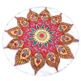 NRUTUP Round Printing Hippie Tapestry Beach Picnic Throw Yoga Mat Towel Blanket Clearance Hot Sales(White,A)