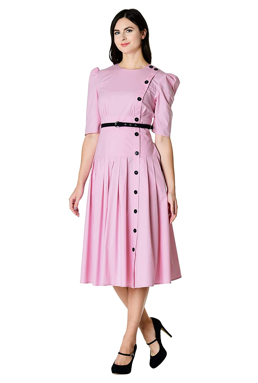 1940s Shirtwaist Dress History eShakti Womens Cotton poplin Puff Shoulder Dress $69.95 AT vintagedancer.com