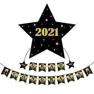 LEJHOME Graduation Decor Congrats Grad Banner - 2021 Graduation Decorations Party Supplies - Graduation Banner Black Gold Garland Class of 2021 Decorations Graduation Gifts