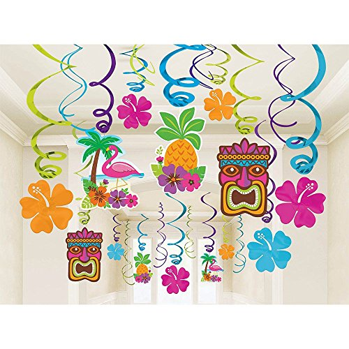 Amscan Sun-Sational Summer Luau Tropical Tiki Swirl Decorations Mega Pack (30 Piece), Multi Color, 17.4 x (Hibiscus Flower Pinata)