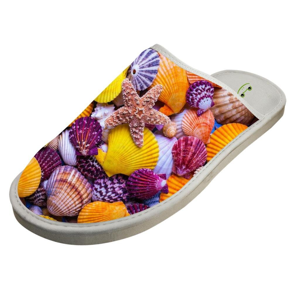Jane-LEE Sea Shells Beach Seashells Starfish House Slippers//Cotton Slippers//Flat Shoes//Indoor Slippers