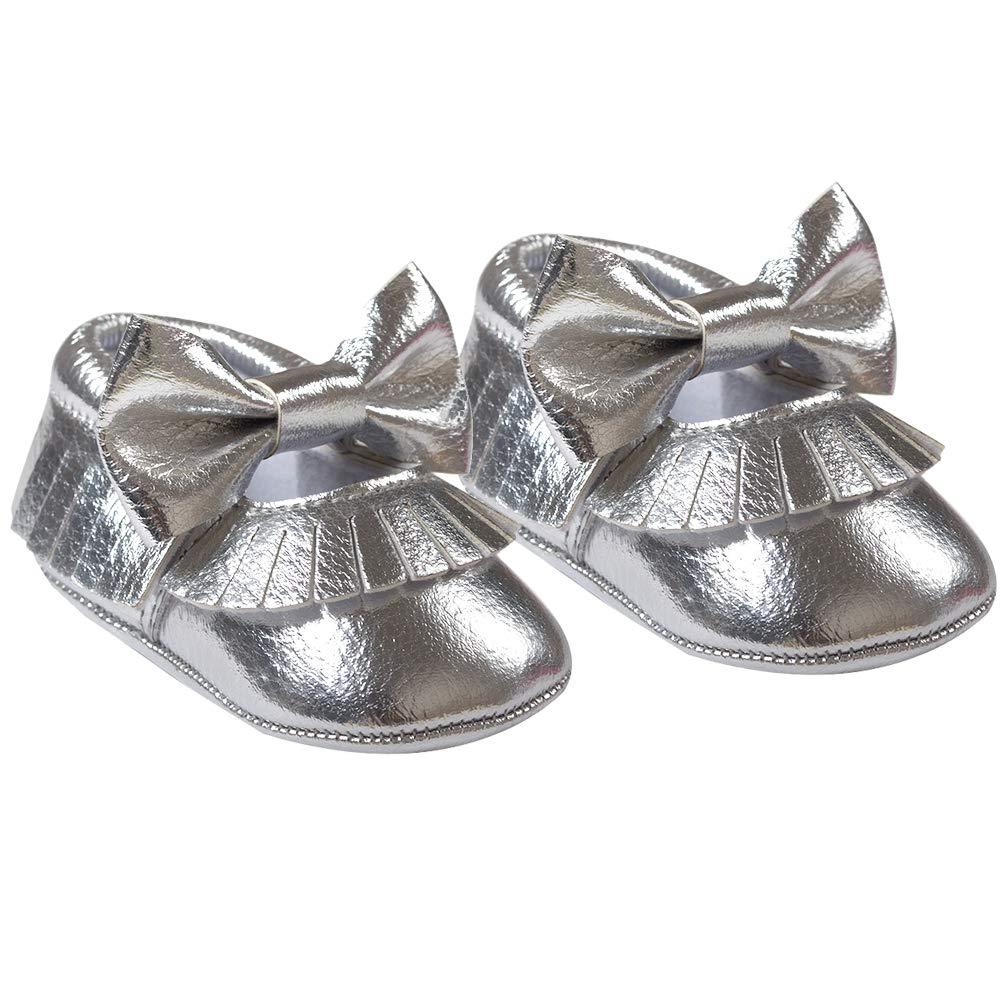 White 12cm Green Alamana Bowknot Tassel Infant Baby Girls Soft Sole Anti-Slip Prewalker Toddler Shoes