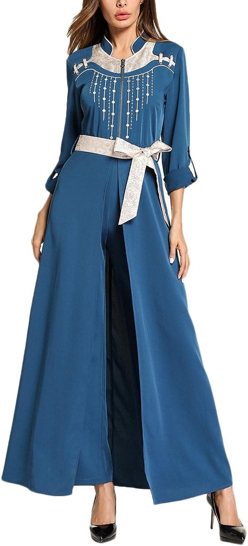 Zhuhaitf Blau Princess Stil Damen Kleider Maxi Patchwork Lange Kleider Casual Jalabiya Fur Frauen Lange Armel Amazon De Bekleidung