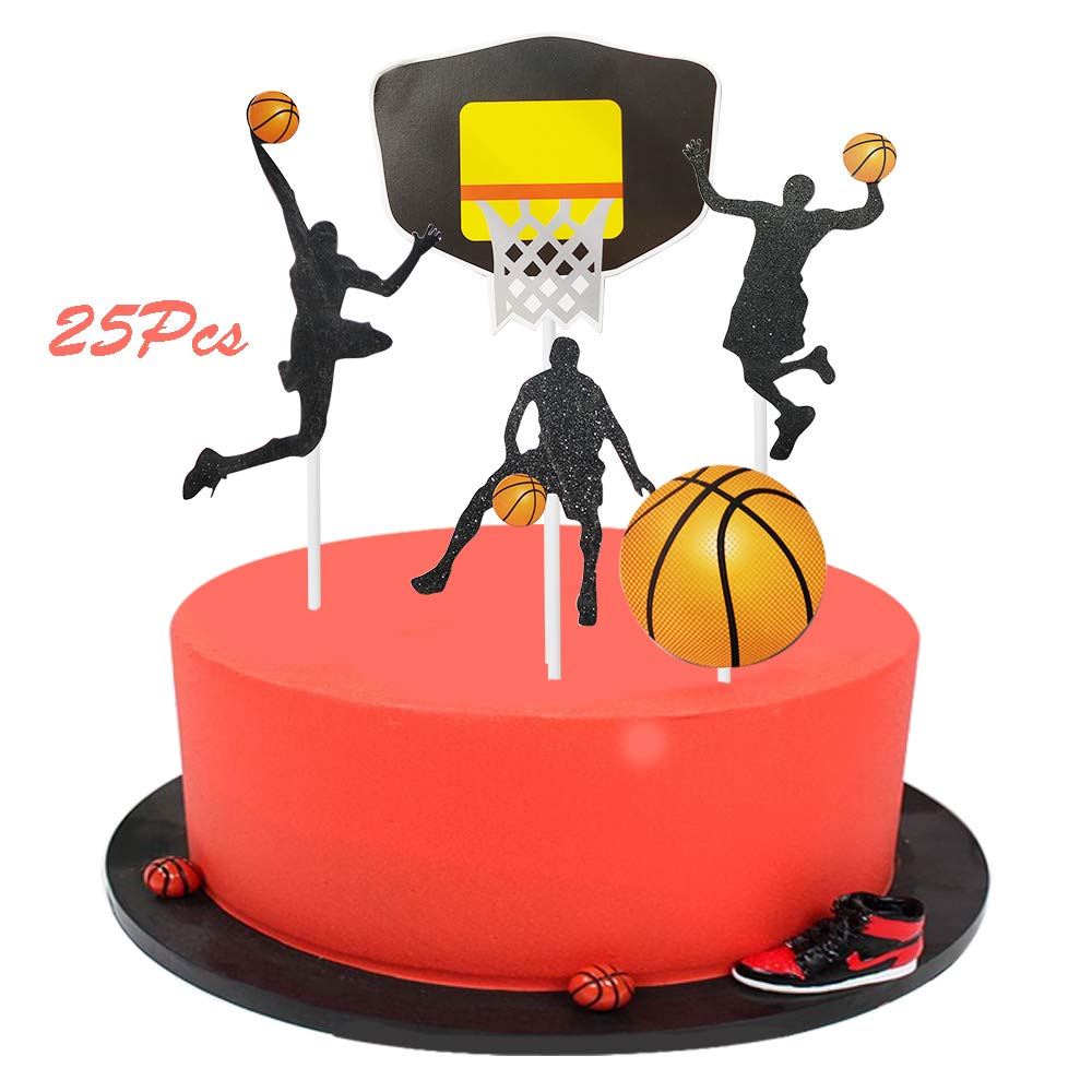 Sunsor 25Pcs Basketball Player Cupcake Topper Cupcake Picks for Basketball Theme Party Decorations Supplies