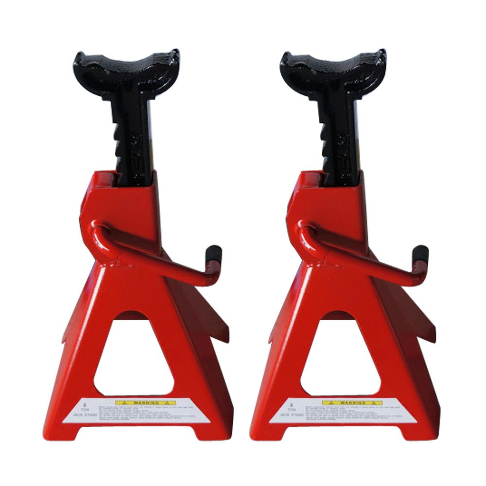 SUNROAD Pair of Big Red Steel Lift Jack Stands - 2 Ton Capacity,Self-Locking