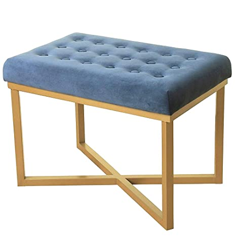 Groovy Amazon Com Vanity Bench Seat Stool Blue Upholstered Bed End Machost Co Dining Chair Design Ideas Machostcouk
