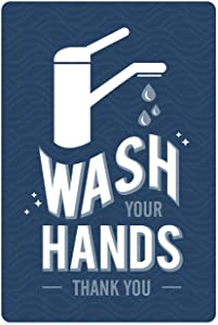 """Modern Corporate Hand Washing Sign / 6"""" x 9"""" Printed Safety Sign/Germ Fighting Bathroom Sign"""