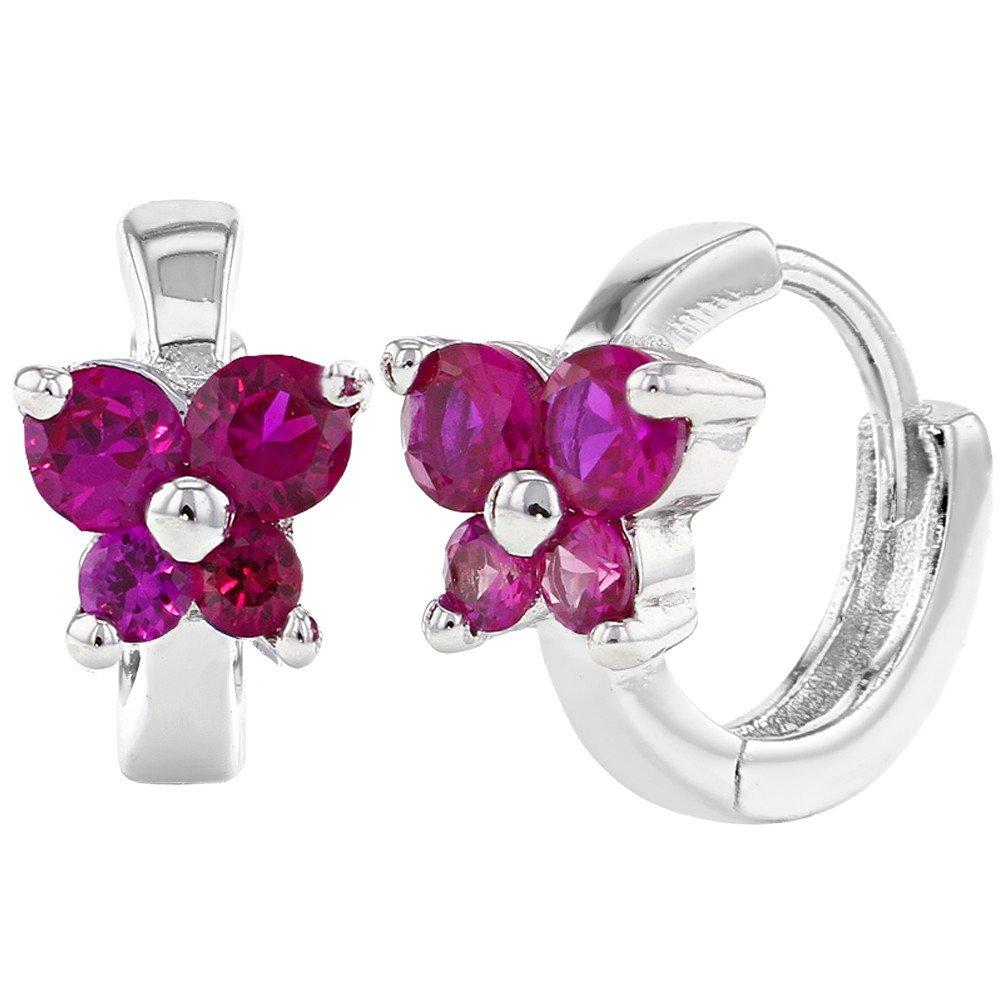 925 Sterling Silver Tiny Pink Butterfly Hoop Earrings Huggie Kids Girls 0.39 In Season Jewelry SS-03-00041
