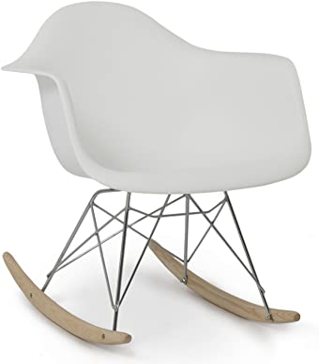 Classic Rocking Chair Rocker Shell Arm Chair Mid Century Molded Armchair Heavy Duty Plastic White #259