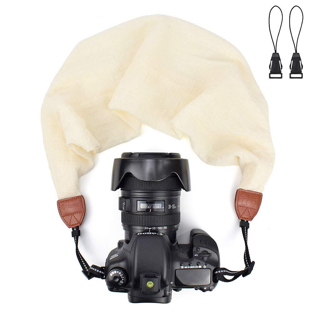Grey LIFEMATE Scarf Camera Strap,DSLR Camera Strap Universal Neck Strap,Fabric of Bohemia Floral Scarf Camera Strap
