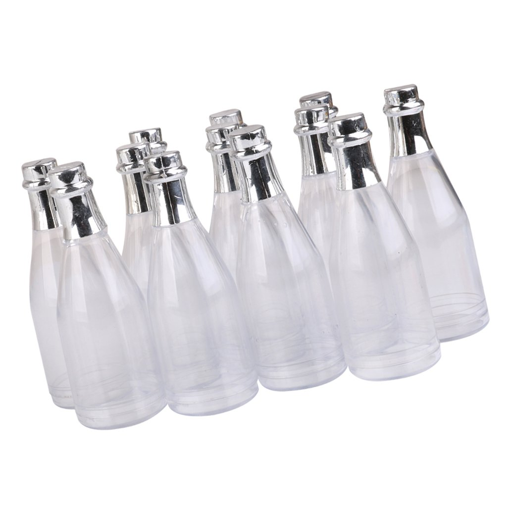 MagiDeal 12pcs Botellas Pl/ásticas Claras de Champ/án de Dulces de Fiesta Decoraci/ón de Mesa de Boda
