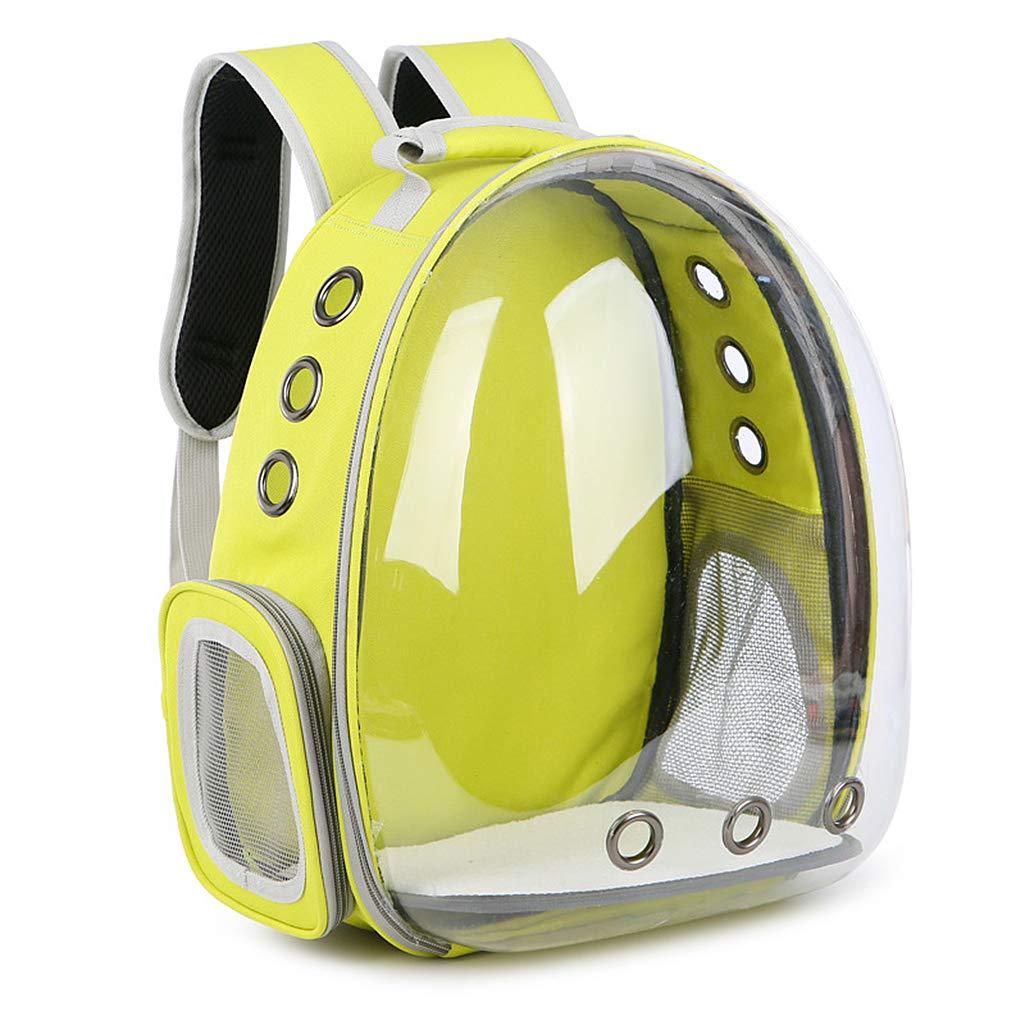 JAGENIE 通気性 透明 カプセル付き ペット 猫 子犬 旅行 宇宙 バックパック キャリアバッグ 35 x 25 x 42cm イエロー JAGENIE  イエロー B07HRDNGWT