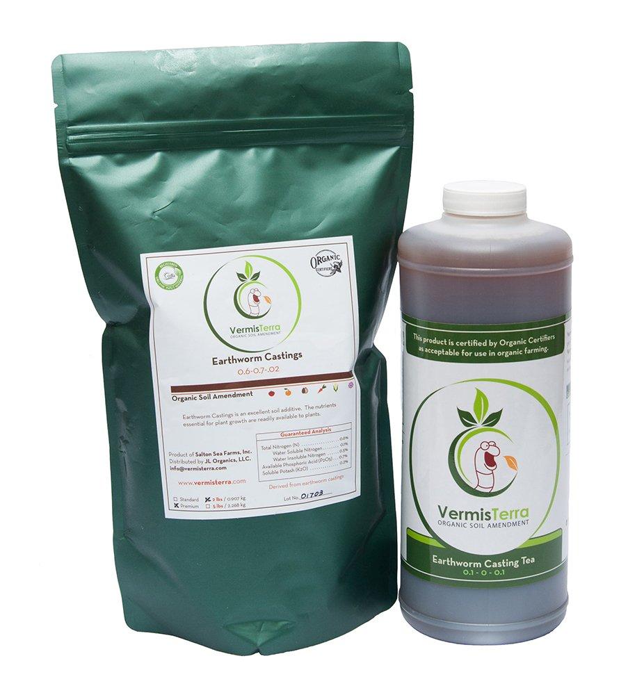 VermisTerra Organic Test Kit - Premium Earthworm Castings (2 LB) & Casting Tea (Quart)