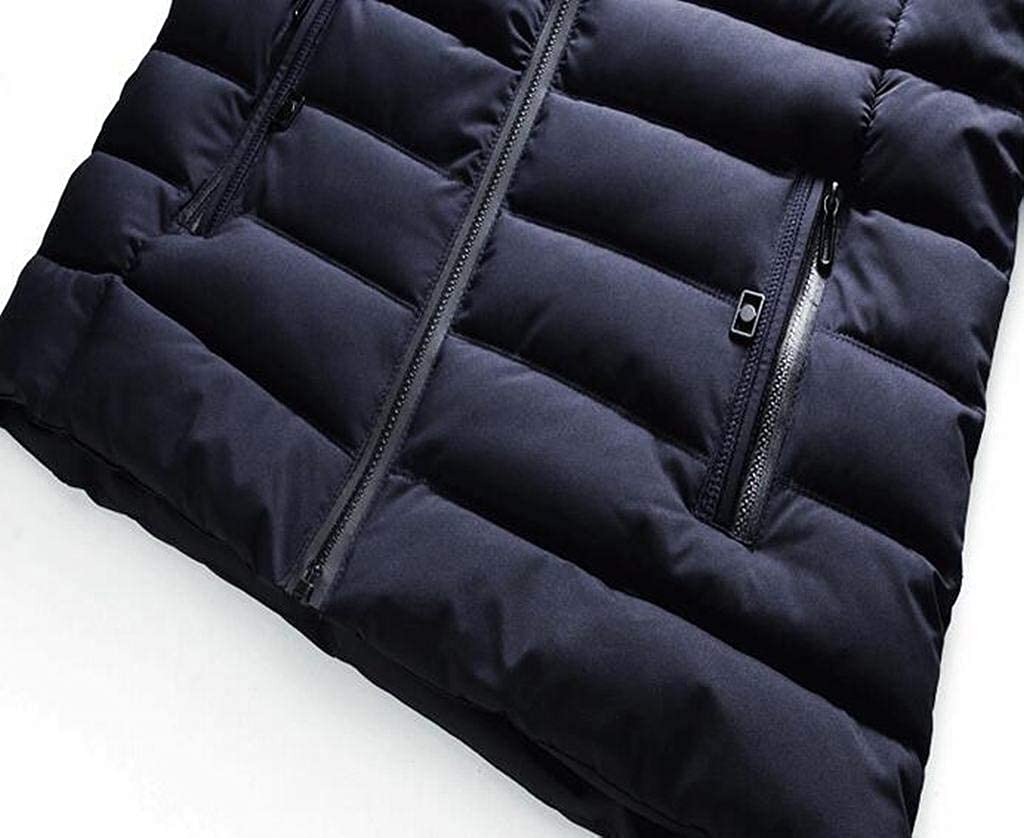 WAWAYA Mens Thicken Stand Collar Zip Up Winter Down Quilted Coat Jacket Overcoat