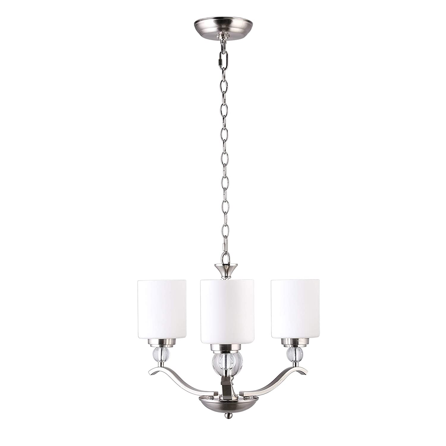 CO-Z 3 Light Brushed Nickel Chandelier, Contemporary Hanging Ceiling Light Fixture with Decorative K9 Crystal Ball and Satin Etched Cased Opal Glass Shade, Modern Chandelier Lighting for Dining Room