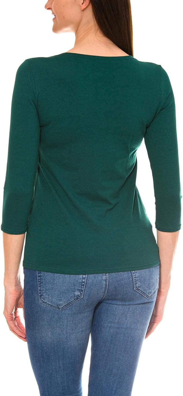 Alkato T-Shirt da Donna a Maniche a 3//4 con Scollo Tondo