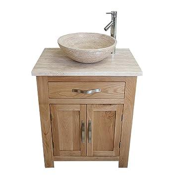 Bathroom Vanity Unit Oak Modern Cabinet Wash Stand Travertine Top U0026 Basin  With Tap U0026 Plug