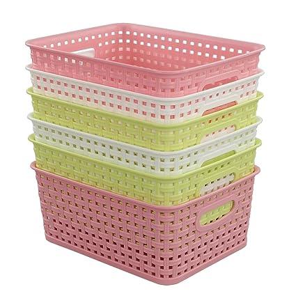 Beau Fiaze Woven Plastic Storage Baskets, 10.03u0026quot; X 7.55u0026quot; ...