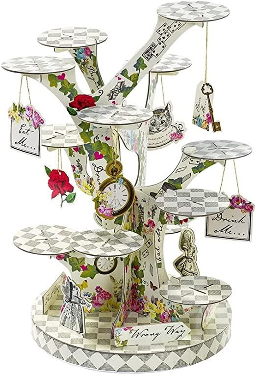 Amazon Com Talking Tables Tsalice Treatstand Alice In Wonderland Cupcake Stand Centerpiece Mad Hatter Tea Party Treat Mixed Colors Kitchen Dining