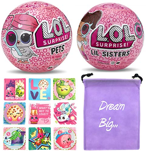 LOL Surprise Dolls Bundle Includes (1) New Eye Spy Pets + (1) Lil Sister Series 4 + (9) Shopkins Stickers with Compatible Toy Storage ()