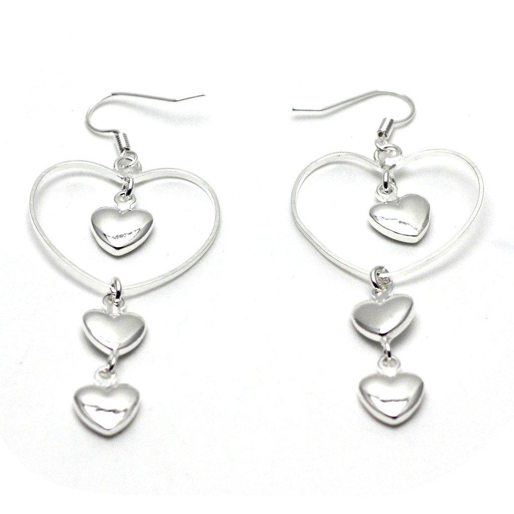 HuntGold 1 Paar Frauen Damen Mädchen Haken Ohrringe 3 Herz Ohr-Anhänger Schmuck (Silber)