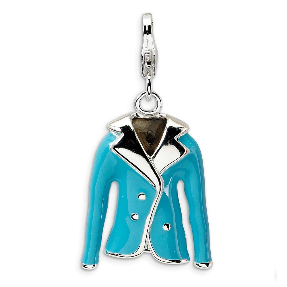 Sterling Silver Rhodium Plated 3-D Enameled Blue Jacket with Lobster Clasp Charm (0.8IN long x 0.6IN wide)