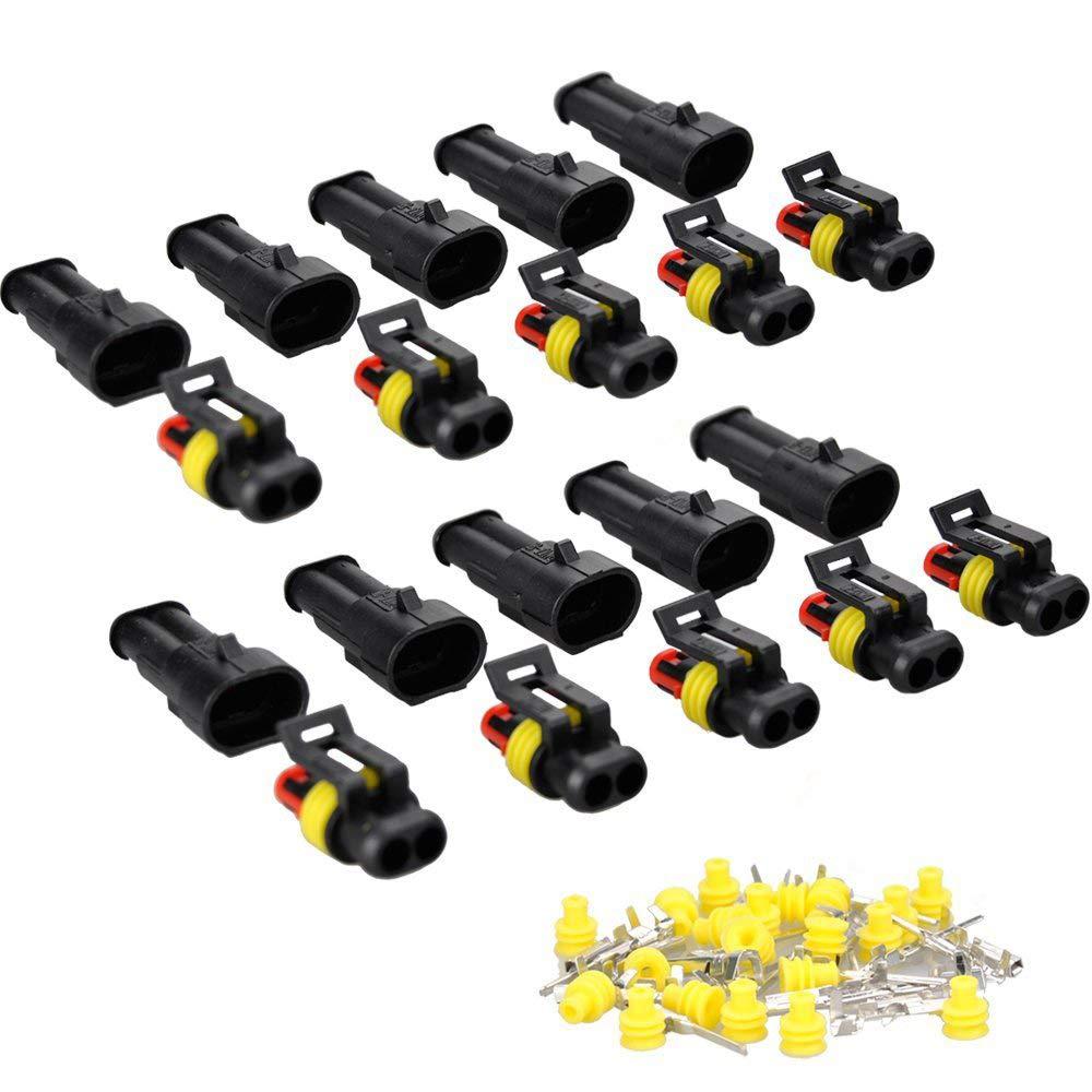 terminales de la serie Heat Shrink de bloqueo r/ápido arn/és de alambre de 20 Juego de 10 conectores el/éctricos impermeables de 2 pines de 1,5 mm 16 AWG