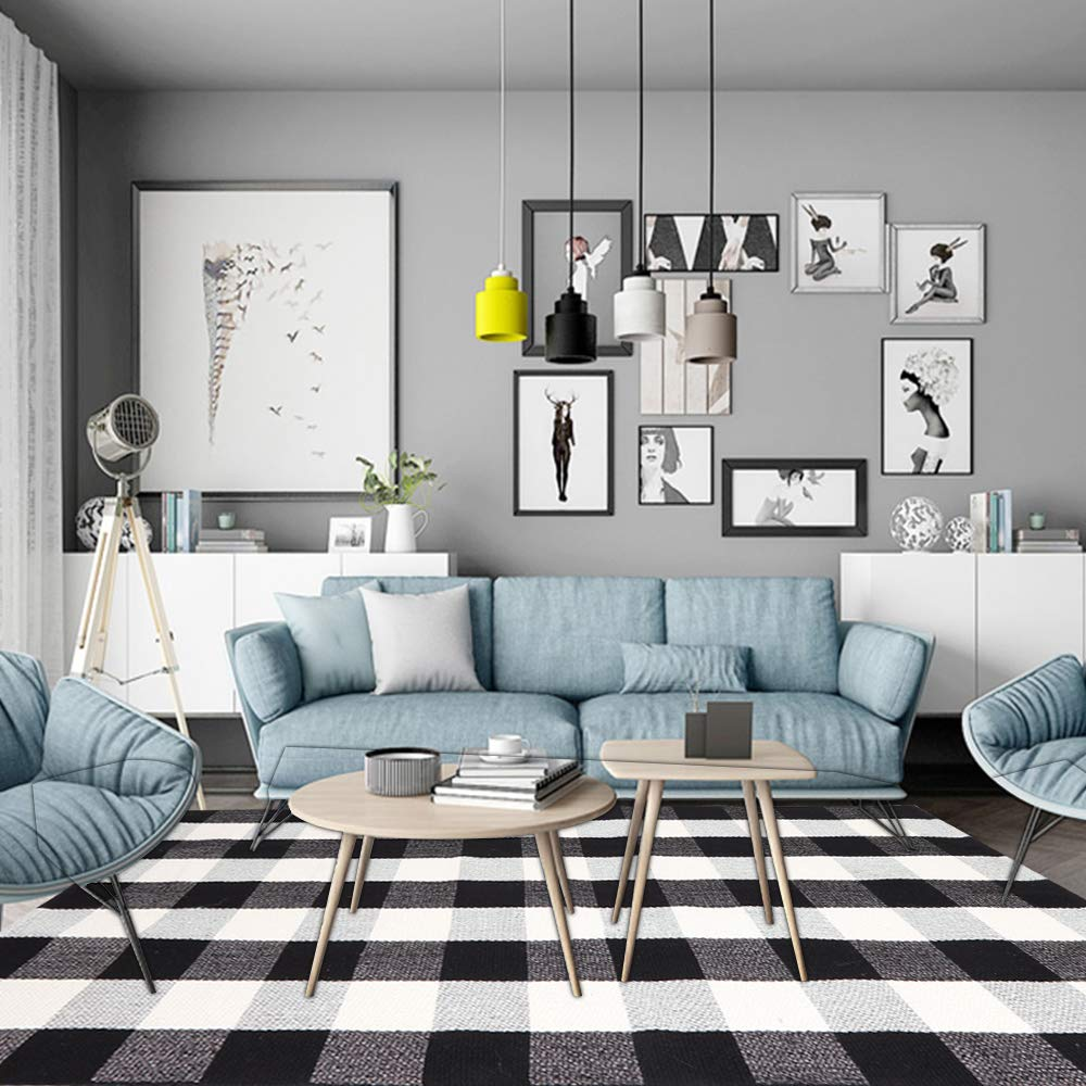 100% Cotton Buffalo Plaid Area Rug 5' x 6' 7'', KIMODE Black/White Hand-Woven Checkered Floor Mats, Modern Collection Rugs Machine Washable Collection Rugs Carpet for Bathroom,Bedroom,Living Room by KIMODE