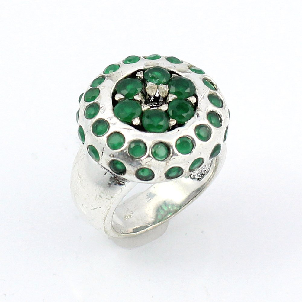 BEST QUALITY EMERALD FASHION JEWELRY .925 SILVER PLATED RING S12385