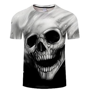432b23e06de64e YICHUN Homme Femme Tops T-Shirt de Loisir Crâne Tunique Tête de Mort Tees  Chemisier