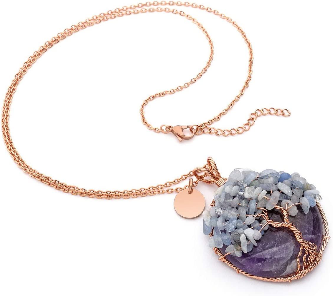 Top Plaza Healing Crystal Amethyst Ocean Kyanite Round Stone Pendant Necklace Tree of Life Copper Wire Wrapped Necklaces Handmade Reiki Quartz Gemstone Jewelry for Womens
