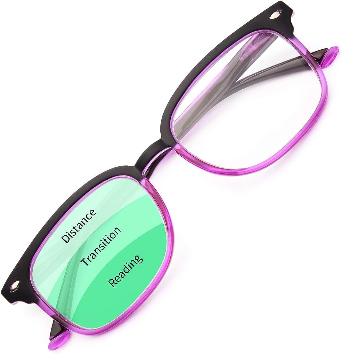 Gaoye Progressive Multifocus Reading Glasses Blue Light Blocking for Women Men,No Line Multifocal Readers with Spring Hinge