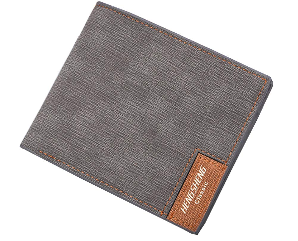Men Canvas Wallet Purse Mens with Multi Card Slots with Money Compartments and Small Carry Size(Grey)