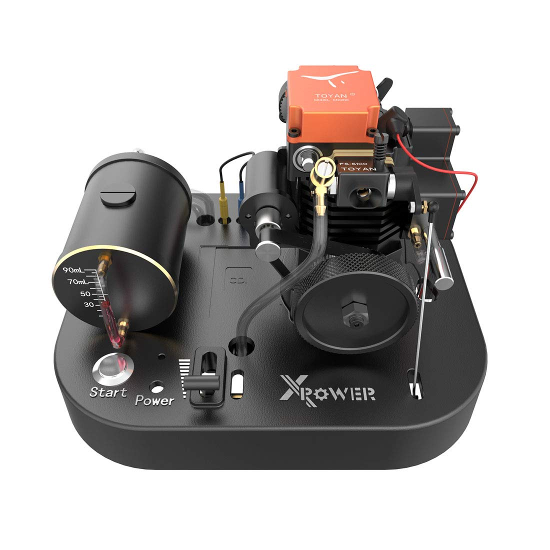 Yamix 4 Stroke Methanol Engine RC Engine Toyan Engine DIY Engine Motor with Base Fuel Tank Throttle Push Rod Set for 1:10 1:12 1:14 RC Car Boat Airplane (FS-S100AS)