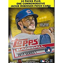 2017 Topps Baseball Series #1 Unopened Blaster Box with 10 Packs and One Retail Exclusive Commemorative Jackie Robinson Logo Patch Card
