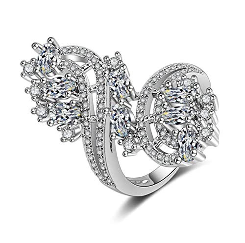 Allring Ringe Damen Bands Exquisite Strass Weiss Flower Form