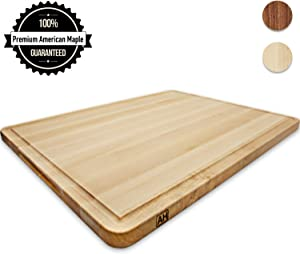 Wood Cutting Board Extra Large Maple 18x24 Inch Reversible with Handles and Juice Groove, Thick Butcher Block Chopping Board Carving Cheese Charcuterie Serving (Bonus Gift Box) Handmade by AzrHom
