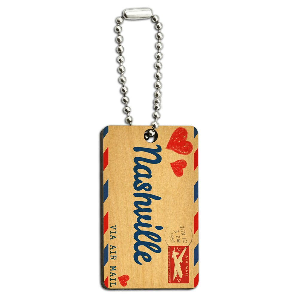 Air Mail Postcard Love for Nashville Wood Wooden Rectangle Key Chain Graphics and More