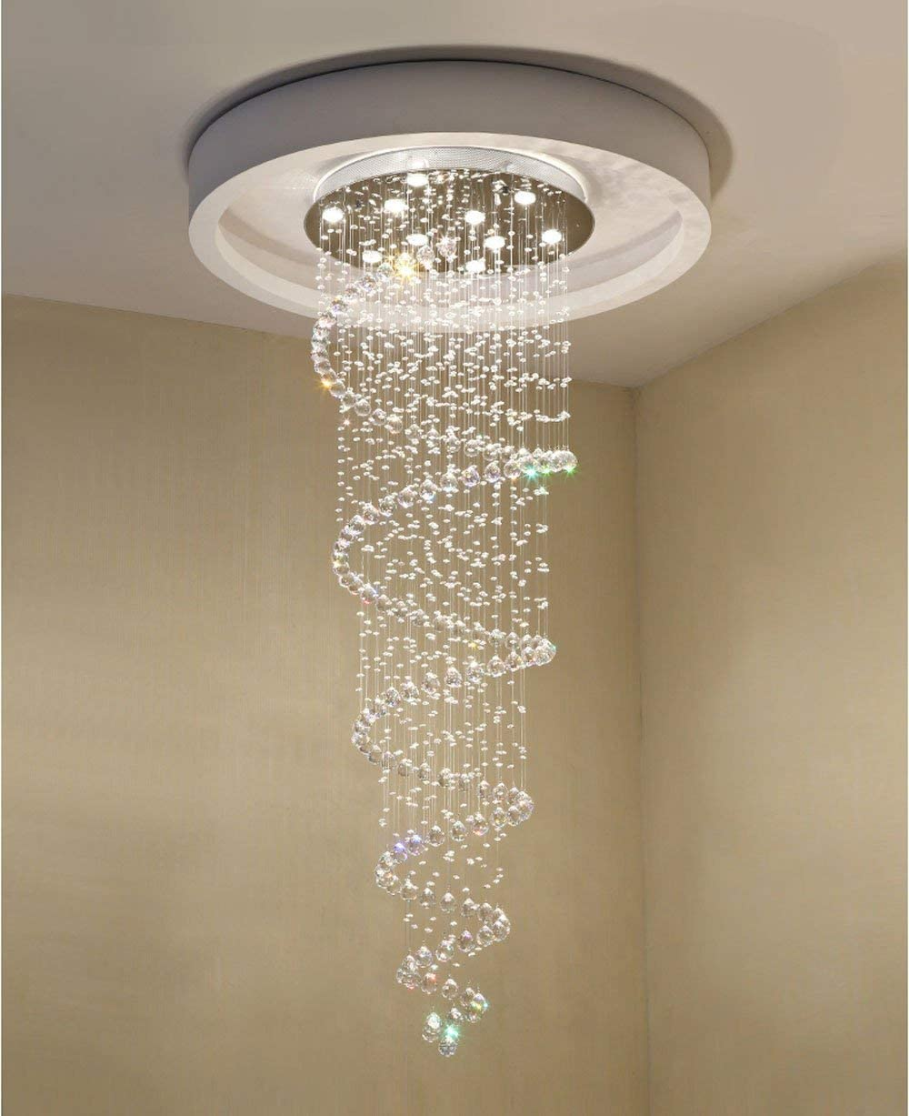 Crystal Chandeliers LED 3 Brightness K9 Crystal Ceiling Lights Chandelier Stairs Lobby Country House Showroom Living Room with LED Bulbs and Remote Control D47 x H197