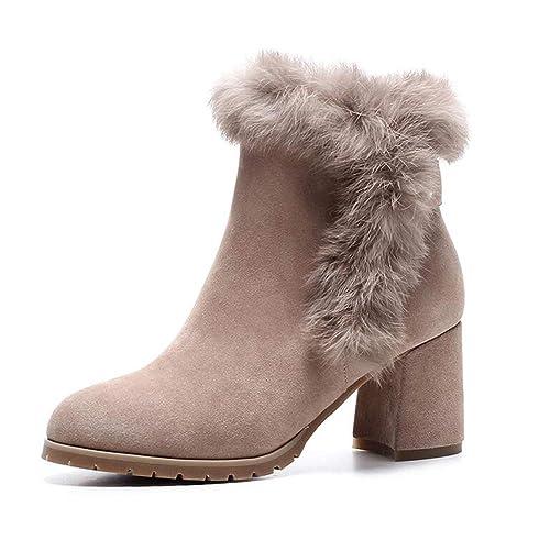 Hembra de oto/ño e Invierno los Zapatos de tac/ón Alto Zapatos Botas Impermeables tama/ño